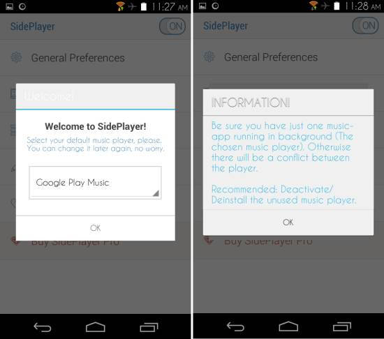 Using SidePlayer for Android