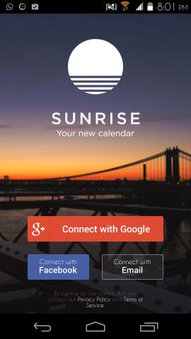 Using Sunrise Calendar for Android