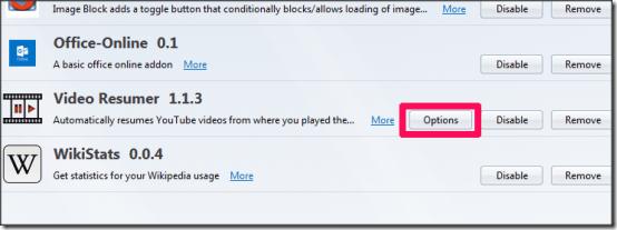Video Resumer Options