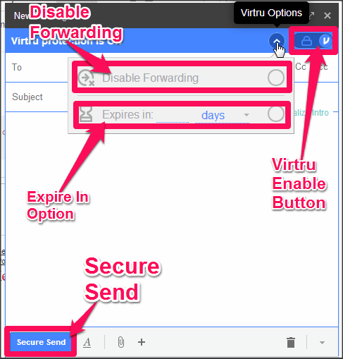 Virtru Send Secure Email Window