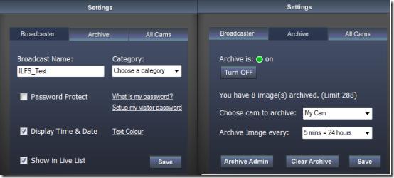 Webcam Broadcast Settings