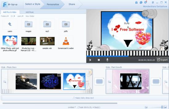 Wondershare Fantashow- interface