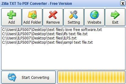 Zilla TXT To PDF Converter- bulk convert text files to PDF