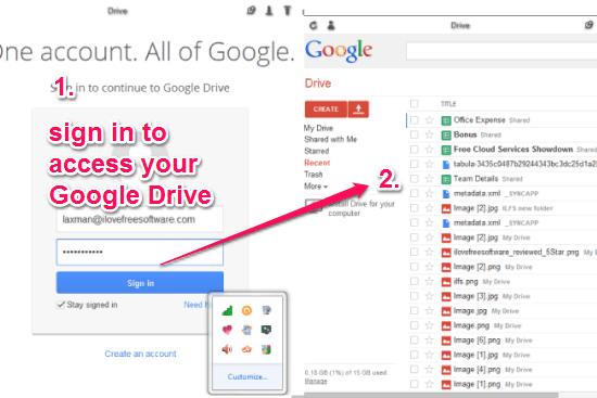 access Google Drive from desktop