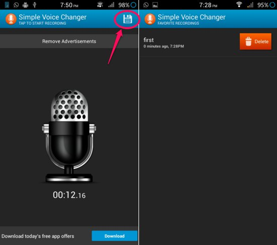 access recording in simple voice changer for android