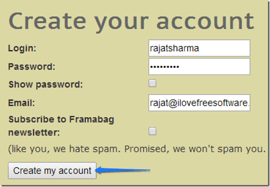 account creation framabag