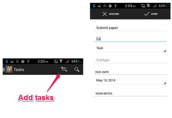 add tasks, exams, and holidays in time table app for android