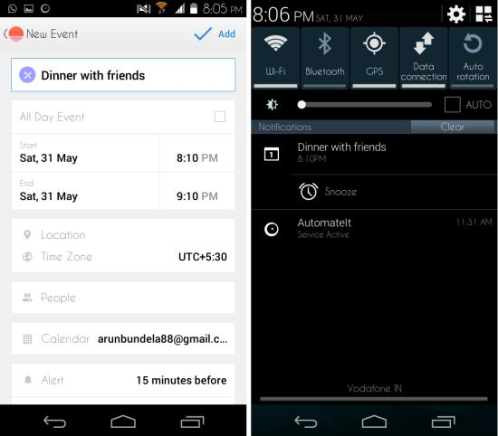 adding event in Sunrise Calendar for Android
