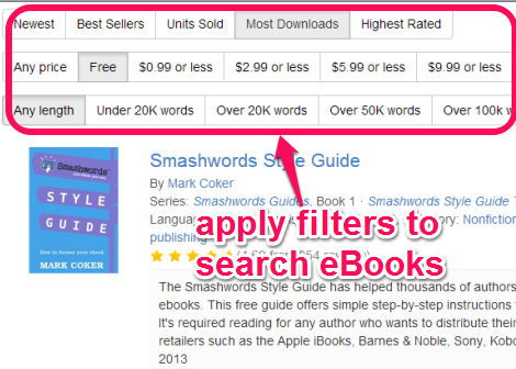 apply filters to search eBooks