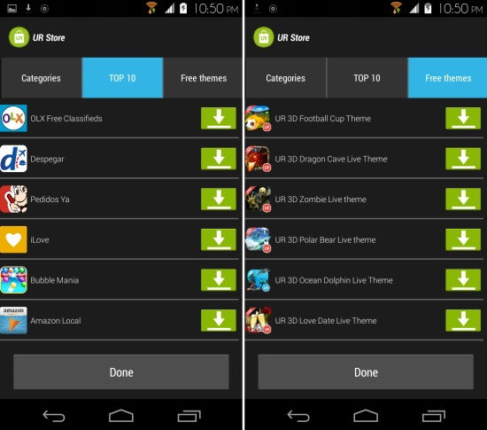 apps and themes in ur launcher for android