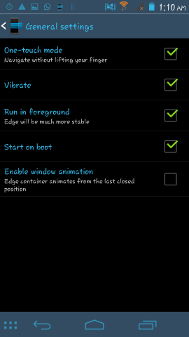 behaviour of Edge Quick Actions for android