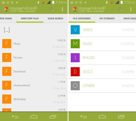 browser by file type Device Storage Analyser for Android