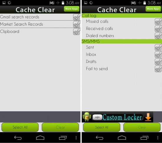 call and trace Cache Clear for Android
