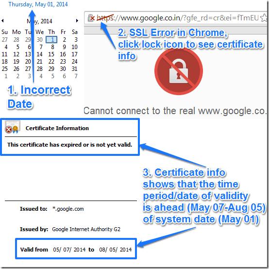 error google fix chrome certificate date message website pop
