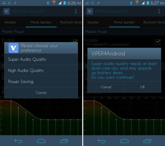 choose audio quality Viper4Android Audio Effects