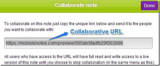 collaborate url mobisle notes