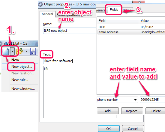 create object and enter details