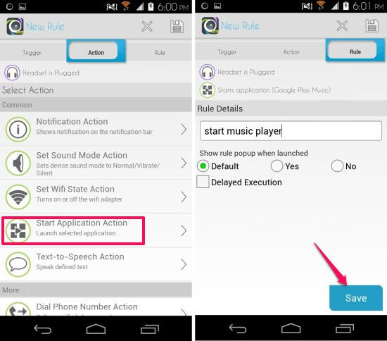 create rule in automateit for android