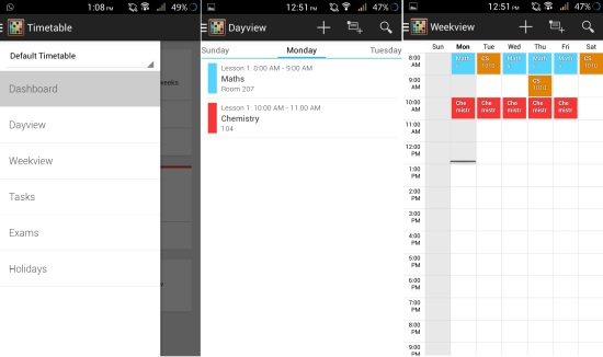 day and week view in free time table app for android
