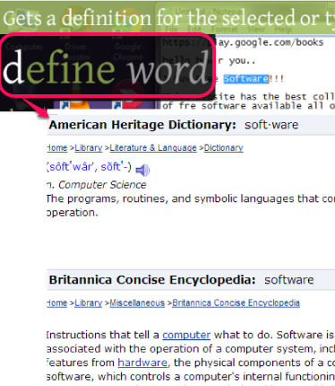 define selected word command