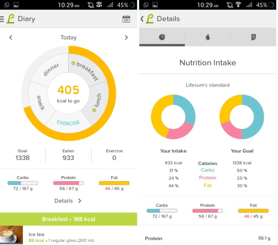 detailed view in calorie counter for android