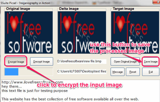 encrypt the image and save to pc