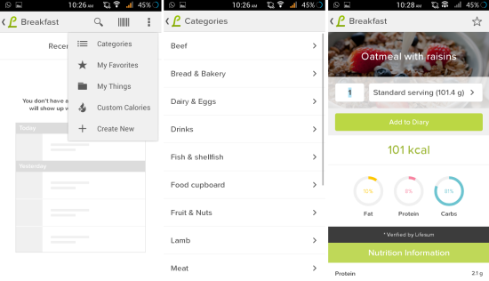 enter calories in lifesum calorie counter for android