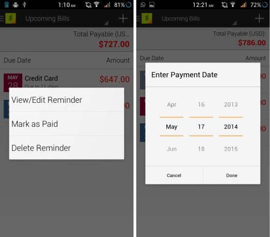 enter payment bill in bills reminder lite