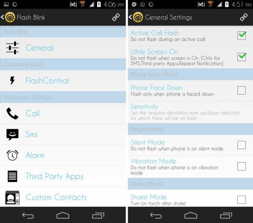 general settings in Flash Blink for Android