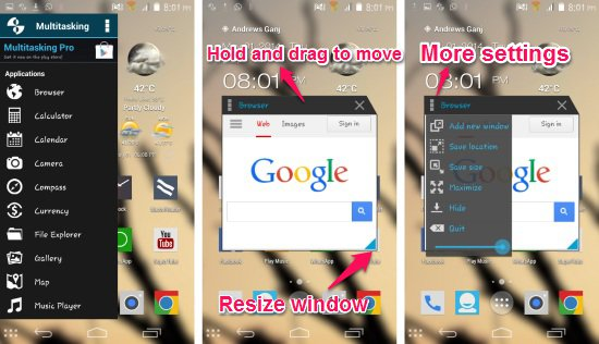 how to launch apps fro multitasking app for Android