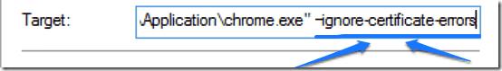 ignore certificate errors chrome