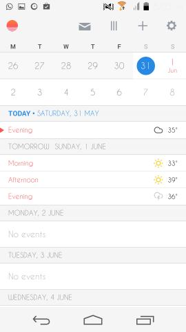 interface Sunrise Calendar for Android