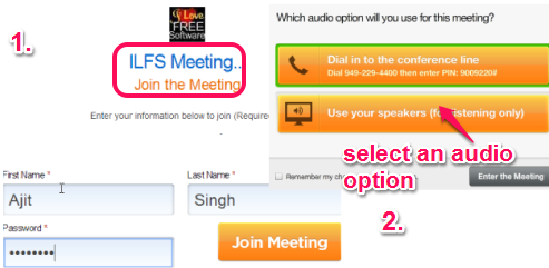 join meeting and select an audio option