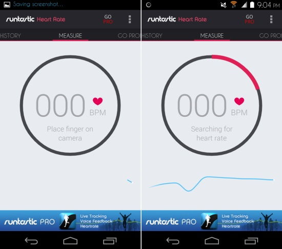 main interface Runtastic Heart Rate for Android