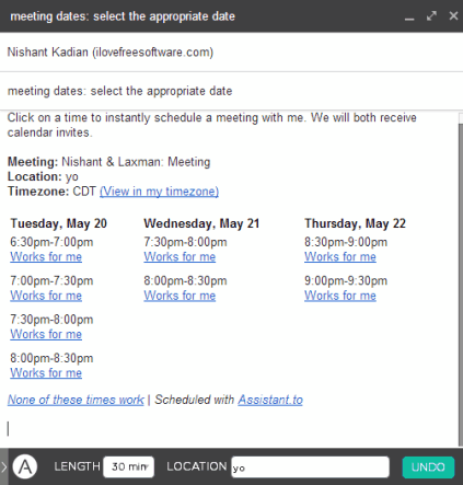 meetings dates are added to email