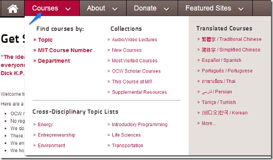 mit ocw find courses