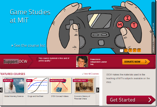 mit ocw homepage