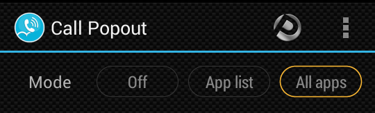 modes in Call PopOut For Android