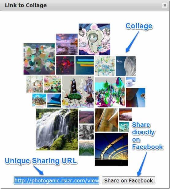 photoganic collage share link