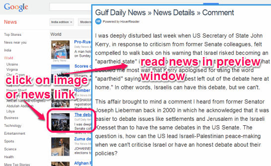 place mouse cursor over news image or link