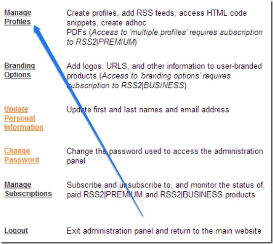 rss2 settings profiles