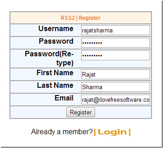 rss2 signup