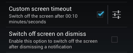 screen time out in DynamicNotifications for Android