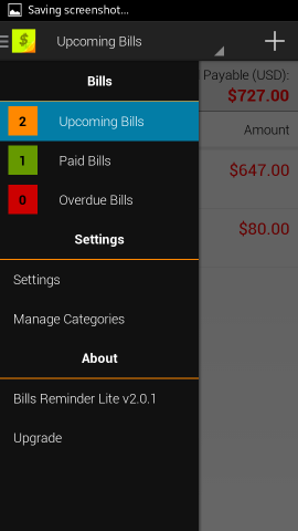 sections in reminder lite for android