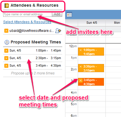 select proposed meeting times and add invitees