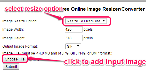 select resize option and add image