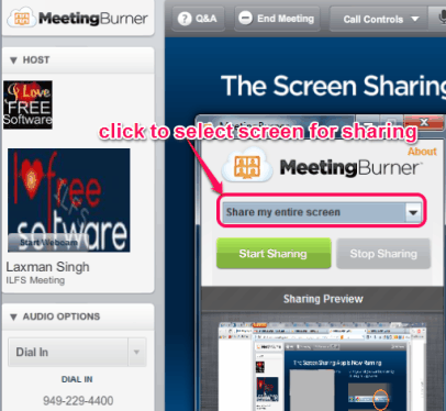 select screen for sharing