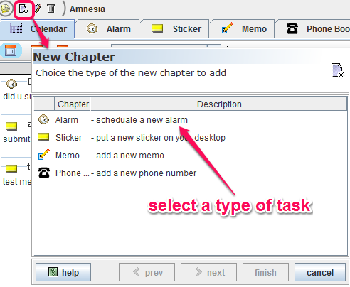 select type of task for chapter