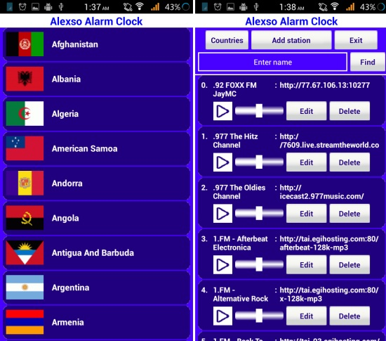 selecting a radio station in radio alarm clock for android