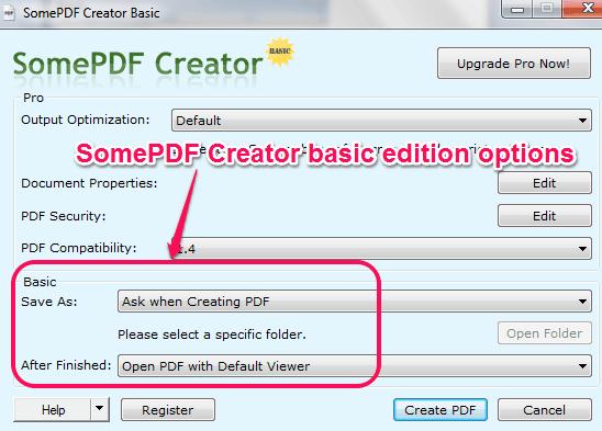 set output options